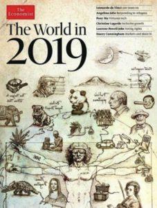 イギリスの政治経済紙「The Economist」(エコノミスト)の表紙「The World in 2019」富士山