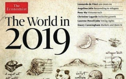 「The Economist」(エコノミスト)の、 「The World in 2019」と題された号の表紙の富士山