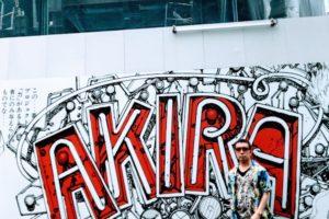 渋谷パルコの建替工事現場の壁の、マンガ『AKIRA』コラージュ。SHUN ONLINE(樺澤俊悟)