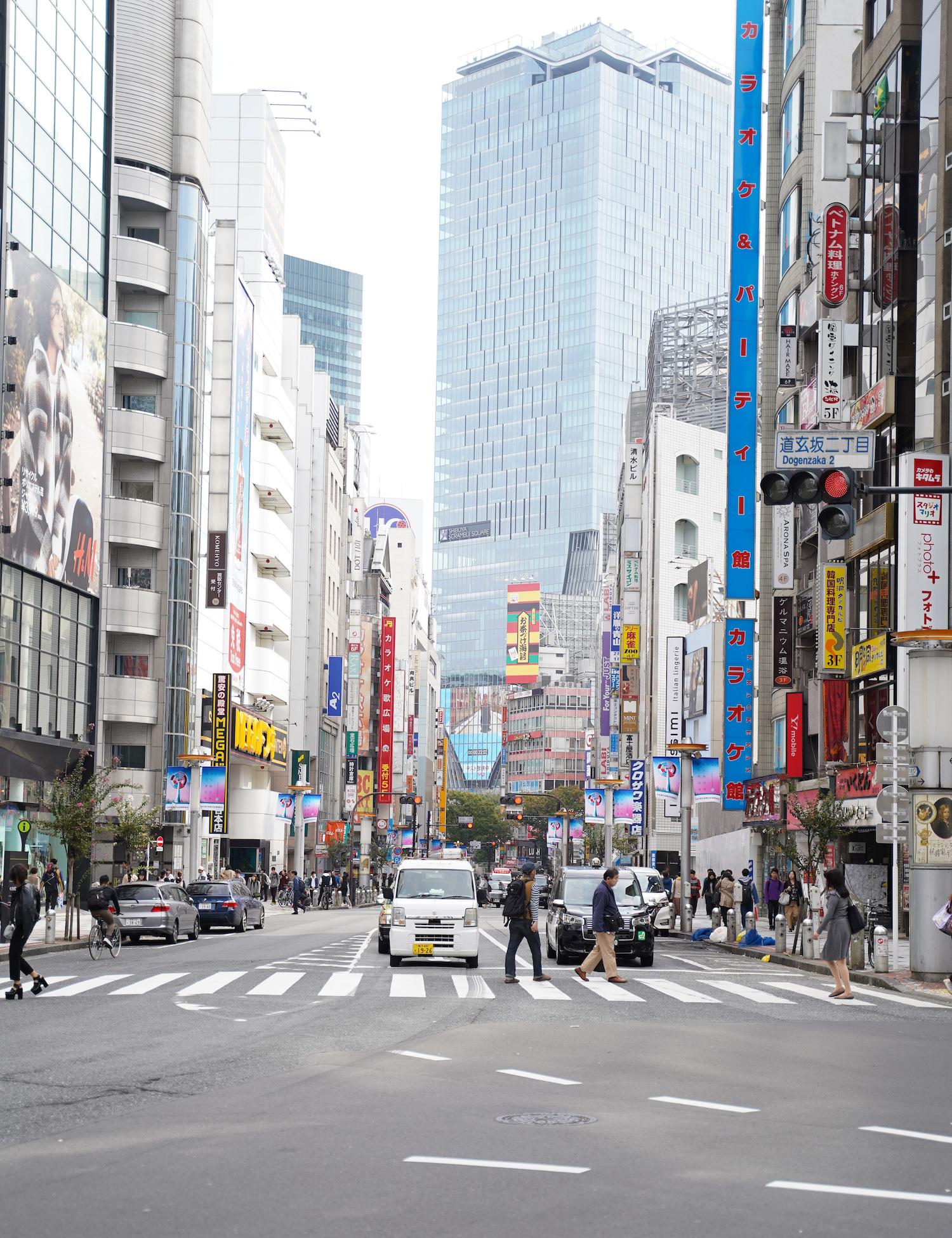 東急本店三差路から眺めた「渋谷スクランブルスクエアのヴィジョン」