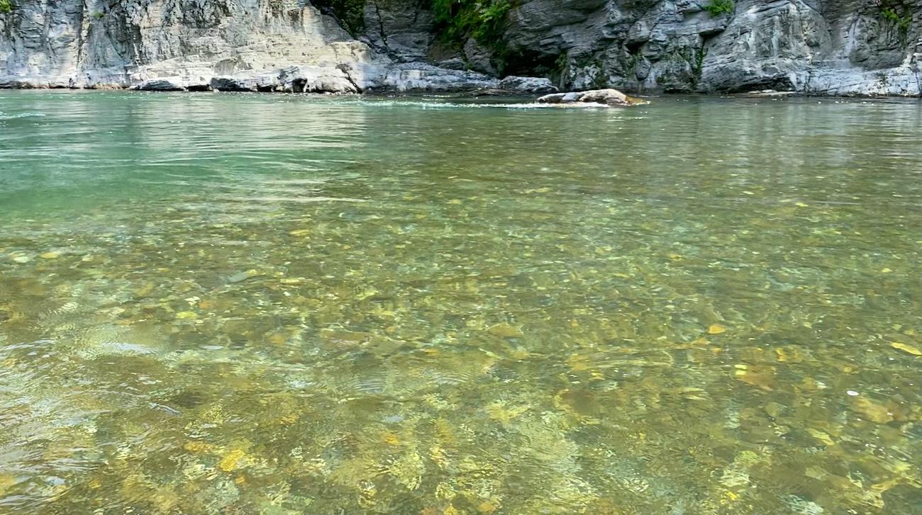 長瀞ラインくだりをしながら撮影した荒川の水面/2021.7.24 photo:SHUN