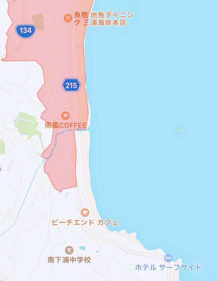 drone flight map 三浦海岸